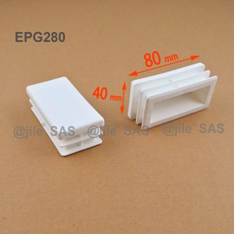 Rectangular insert for tube 80 x 40 mm WHITE plastic - Ajile