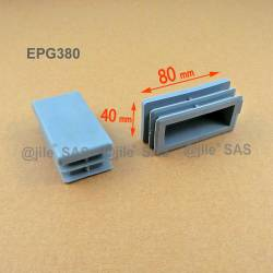Rectangular insert for tube 80 x 40 mm GREY plastic