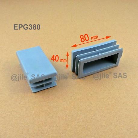 Embout rectangulaire à ailettes 80 x 40 mm Plastique GRIS - Ajile