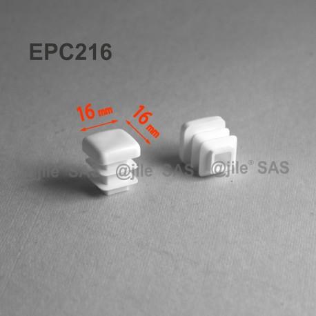 16 x 16 mm Lamellen-Stopfen für Vierkantröhre mit 16 x 16 mm Aussenmass  - WEISS - Ajile
