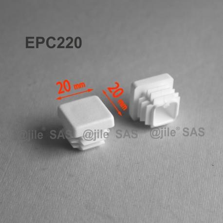 20 x 20 mm Lamellen-Stopfen für Vierkantröhre mit 20 x 20 mm Aussenmass  - WEISS - Ajile