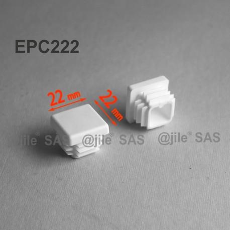 22 x 22 mm Lamellen-Stopfen für Vierkantröhre mit 22 x 22 mm Aussenmass  - WEISS - Ajile