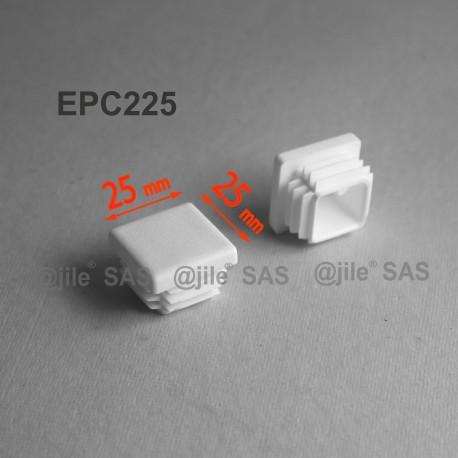 25 x 25 mm Lamellen-Stopfen für Vierkantröhre mit 25 x 25 mm Aussenmass  - WEISS - Ajile