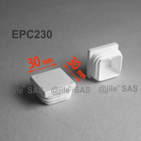 30 x 30 mm Lamellen-Stopfen für Vierkantröhre mit 30 x 30 mm Aussenmass  - WEISS - Ajile