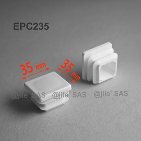 35 x 35 mm Lamellen-Stopfen für Vierkantröhre mit 35 x 35 mm Aussenmass  - WEISS - Ajile