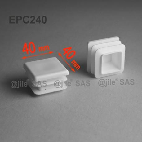 40 x 40 mm Lamellen-Stopfen für Vierkantröhre mit 40 x 40 mm Aussenmass  - WEISS - Ajile