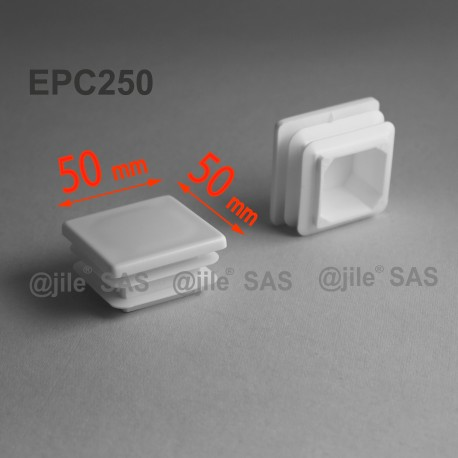 50 x 50 mm Lamellen-Stopfen für Vierkantröhre mit 50 x 50 mm Aussenmass  - WEISS - Ajile