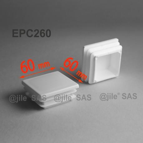 60 x 60 mm Lamellen-Stopfen für Vierkantröhre mit 60 x 60 mm Aussenmass  - WEISS - Ajile