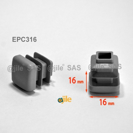 16 x 16 mm Lamellen-Stopfen für Vierkantröhre mit 16 x 16 mm Aussenmass  - GRAU - Ajile
