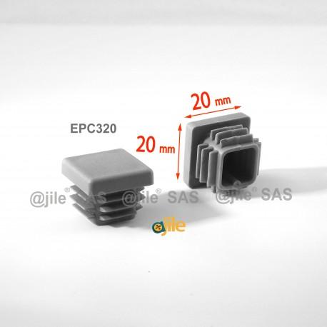 20 x 20 mm Lamellen-Stopfen für Vierkantröhre mit 20 x 20 mm Aussenmass  - GRAU - Ajile