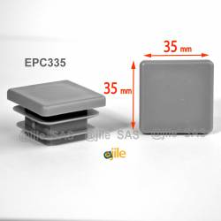 Embout carré à ailettes 35 x 35 mm Plastique GRIS
