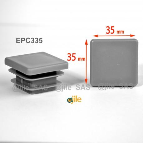 35 x 35 mm Lamellen-Stopfen für Vierkantröhre mit 35 x 35 mm Aussenmass  - GRAU - Ajile