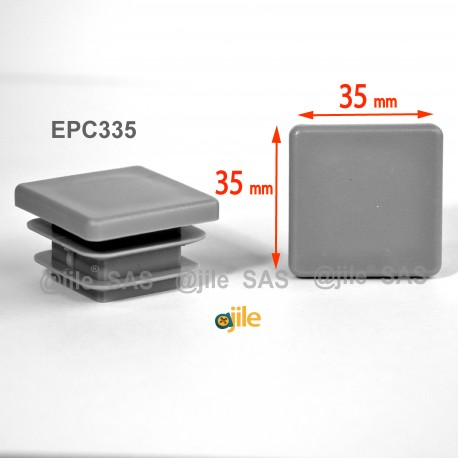 Embout carré à ailettes 35 x 35 mm Plastique GRIS - Ajile