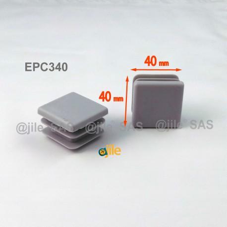 40 x 40 mm Lamellen-Stopfen für Vierkantröhre mit 40 x 40 mm Aussenmass  - GRAU - Ajile