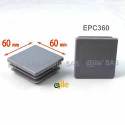 Embout carré à ailettes 60 x 60 mm Plastique GRIS