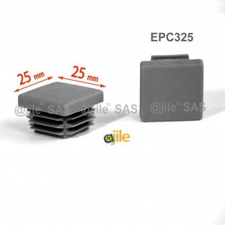25 x 25 mm Lamellen-Stopfen für Vierkantröhre mit 25 x 25 mm Aussenmass  - GRAU - Ajile