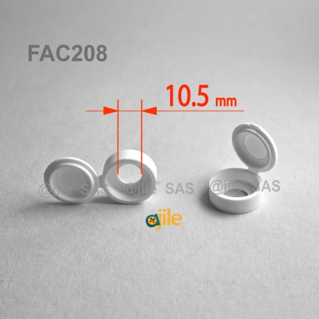 Tappo diam. 8 a 10 mm coprivite M8/10 con linguetta - BIANCO - Ajile