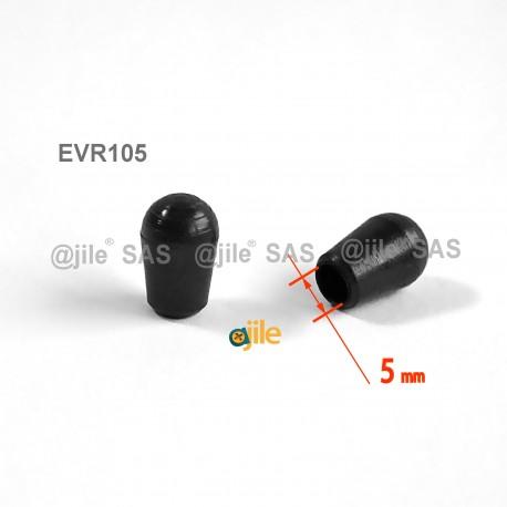 Puntale calzante diam. 5 mm di plastica per tubo 5 mm diam. esteriore - NERO - Ajile