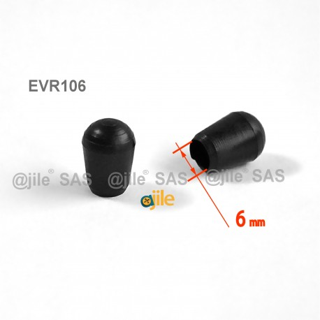 6 mm Diam. Kunststoff Kappen für Rundrohr 6 mm Aussendiameter - SCHWARZ - Ajile