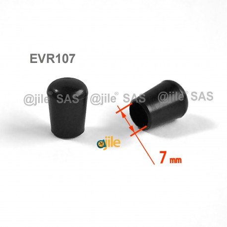 7 mm Diam. Kunststoff Kappen für Rundrohr 7 mm Aussendiameter - SCHWARZ - Ajile