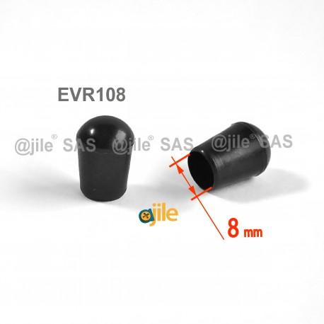 Puntale calzante diam. 8 mm di plastica per tubo 8 mm diam. esteriore - NERO - Ajile