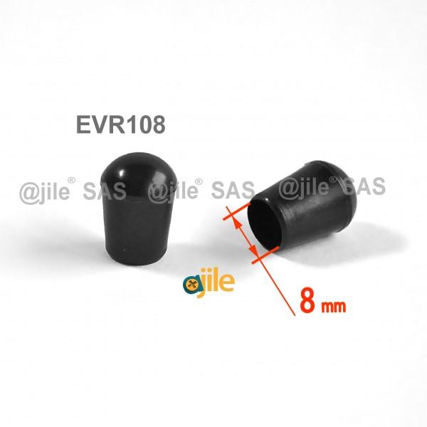 embout enveloppant rond diam 8 mm plastique noir plastique rond noir ajile. Black Bedroom Furniture Sets. Home Design Ideas