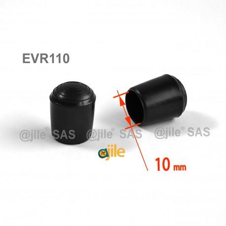 Embout enveloppant rond diam. 10 mm Plastique NOIR - Ajile