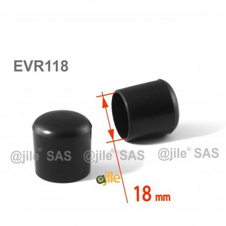 18 mm Diam. Kunststoff Kappen für Rundrohr 18 mm Aussendiameter - SCHWARZ - Ajile