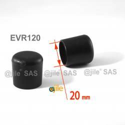 Embout enveloppant rond diam. 20 mm Plastique NOIR