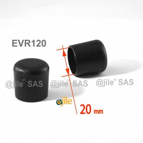 Puntale calzante diam. 20 mm di plastica per tubo 20 mm diam. esteriore - NERO - Ajile