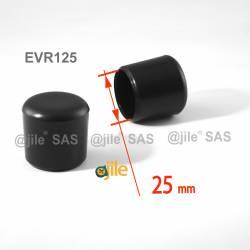 Embout enveloppant rond diam. 25 mm Plastique NOIR