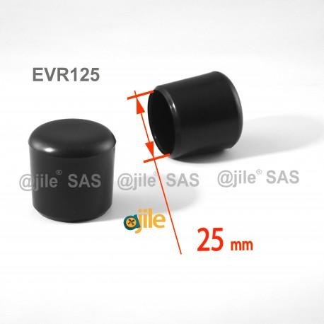25 mm Diam. Kunststoff Kappen für Rundrohr 25 mm Aussendiameter - SCHWARZ - Ajile