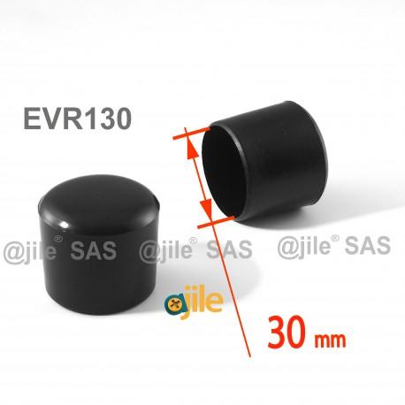 Puntale calzante diam. 30 mm di plastica per tubo 30 mm diam. esteriore - NERO - Ajile