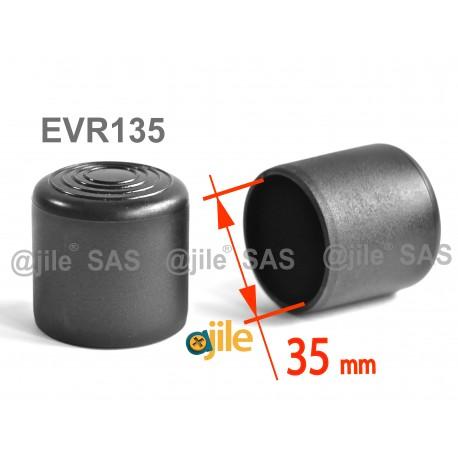 Embout enveloppant rond diam. 35 mm Plastique NOIR - Ajile