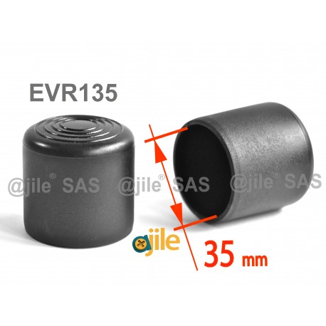 Round ferrule diam. 35 mm BLACK plastic floor protector - Ajile