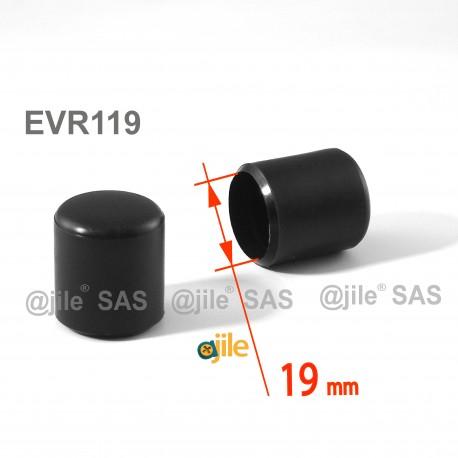 Embout enveloppant rond diam. 19 mm Plastique NOIR - Ajile