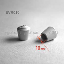 Embout enveloppant rond diam. 10 mm Caoutchouc NOIR