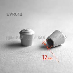 Embout enveloppant rond diam. 12 mm Caoutchouc BLANC