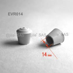 Embout enveloppant rond diam. 14 mm Caoutchouc BLANC