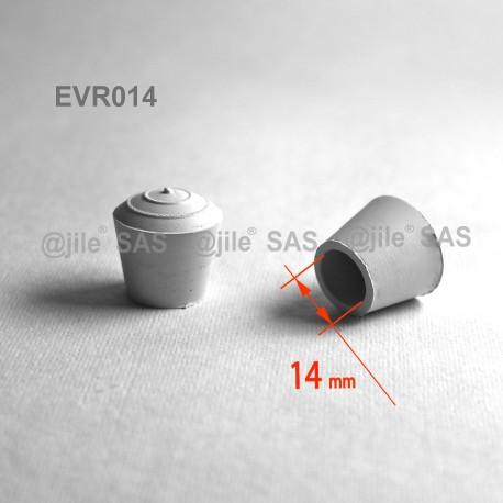 Embout enveloppant rond diam. 14 mm Caoutchouc BLANC - Ajile