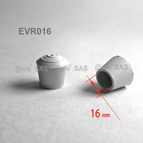 Embout enveloppant rond diam. 16 mm Caoutchouc BLANC - Ajile