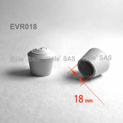 Embout enveloppant rond diam. 18 mm Caoutchouc BLANC