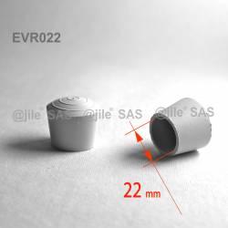 Embout enveloppant rond diam. 22 mm Caoutchouc BLANC