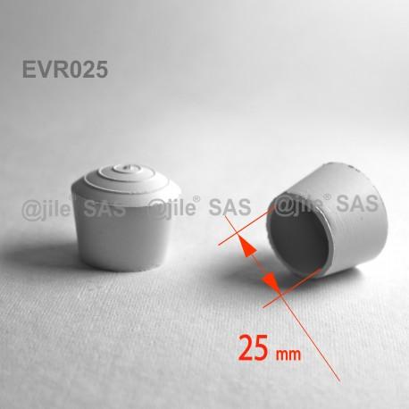 Embout enveloppant rond diam. 25 mm Caoutchouc BLANC - Ajile