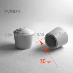 Embout enveloppant rond diam. 30 mm Caoutchouc BLANC