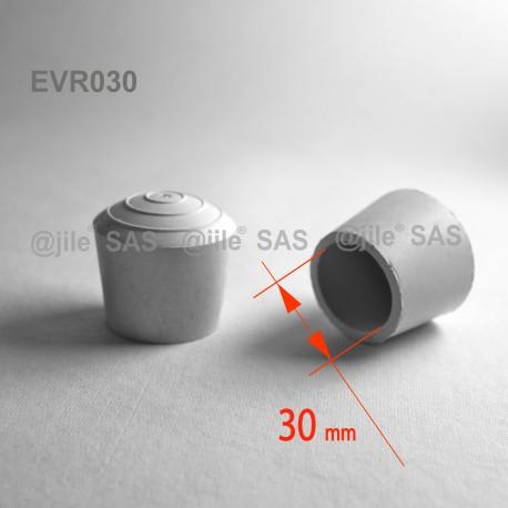Embout enveloppant rond diam. 30 mm Caoutchouc BLANC - Ajile