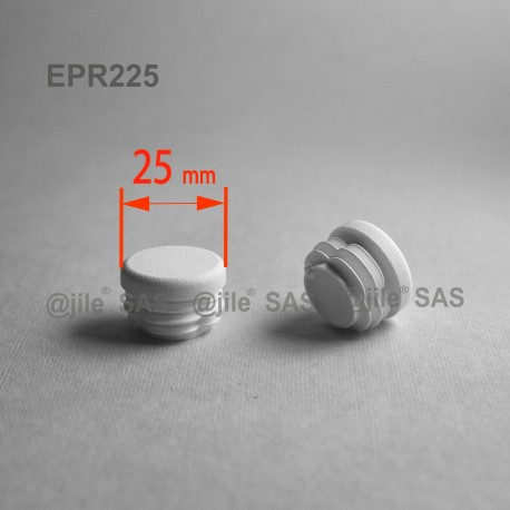 Round ribbed insert for tubes diam. 25 mm WHITE plastic - round-insert-white - ajile