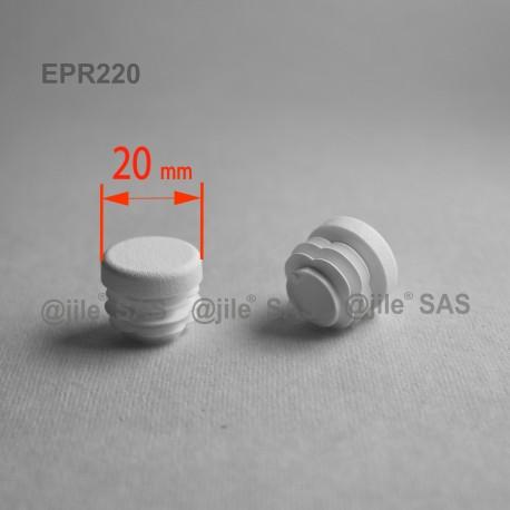 20 mm Diam. Lamellen-Stopfen für Rundrohre 20 mm Aussendiameter - WEISS - Ajile