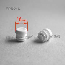 Round ribbed insert for tubes diam. 16 mm WHITE plastic - Ajile