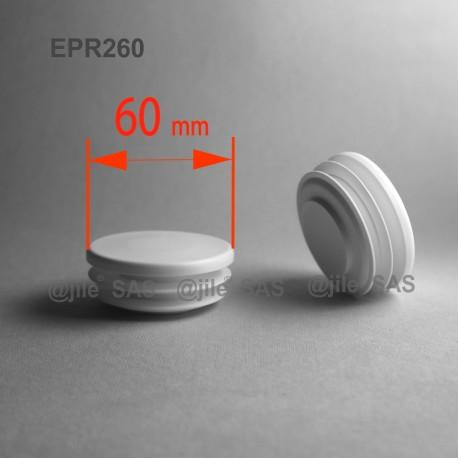 Round ribbed insert for tubes diam. 60 mm WHITE plastic - Ajile